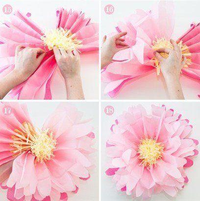 Самодельные бумажные цветы для украшения интерьера - Цветы из ткани и бумаги