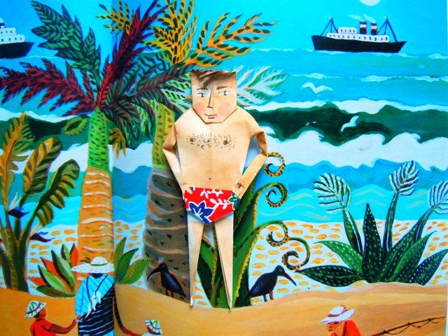 Serge on a tropical beach (painting by Carol Mangiagalli)
