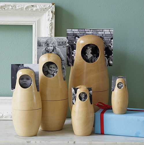 Babushka Doll Photo Frames by Catkin Collection: Nesting dolls which double as photo frames. Also available in black. #Catkin_Collection #Matroyshka_Doll #Babushka_Doll #Photo_Frame