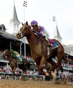 I'll Have Another, a 15-1 long shot, originally sold for only eleven thousand dollars, ridden by first time Derby jockey Mario Gutierrez, wins the 138th Kentucky Derby by a length and a half.