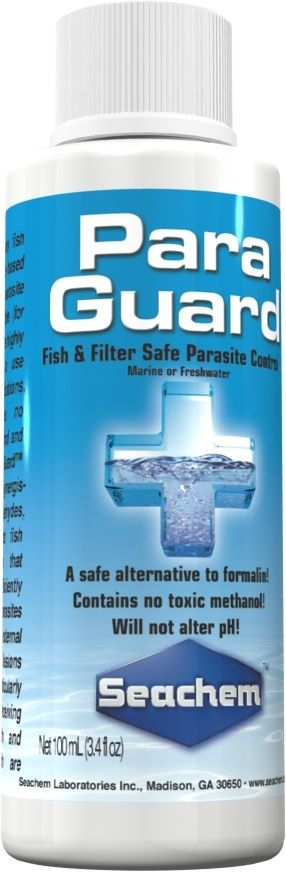 ParaGuard by Seachem is the only fish and filter safe aldehyde based (10% by weight) parasite control product available.