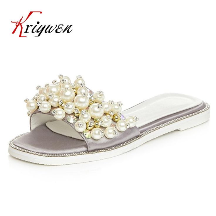 2017 Summer satin casual sildes artificial pearls leisure Slippers flat with women wedding beach lady shoes women flip-flops