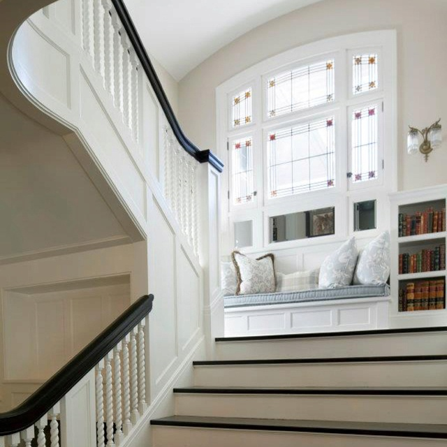 Sitting area at the stair landing home inspiration - Home designer stairs with landing ...
