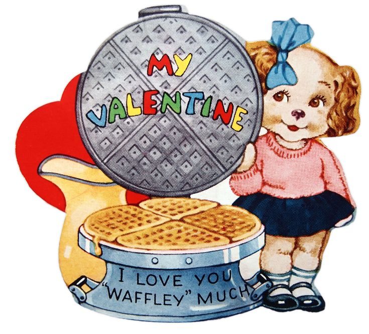 Cute and Kitschy Vintage 'Waffle' Valentine to Print @ Vintage Fangirl