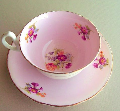 Vintage, pink tea cup saucer, Royal Stafford, Bone China, floral teacup, Tea Party, Tea cup Saucer, birthday gift, wedding gift, pink teacup by VintageBoneChina on Etsy https://www.etsy.com/listing/196289957/vintage-pink-tea-cup-saucer-royal