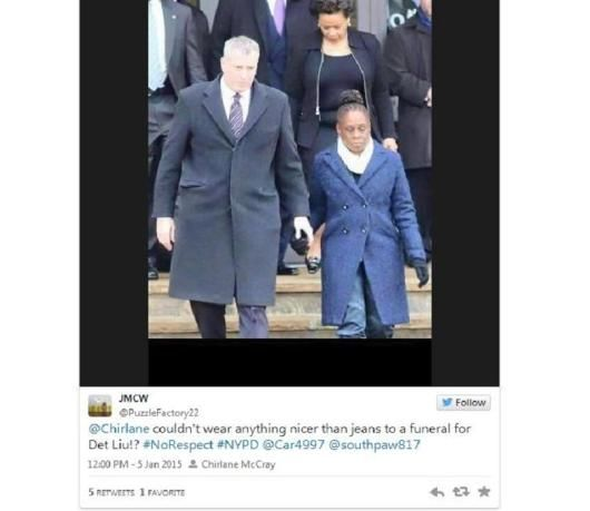 De Blasio slams cops for 'disrespect' despite his wife wearing jeans to funeral. 1/7/15 [sarc] evidently the wife of the mayor can't afford a pair of dress pants!