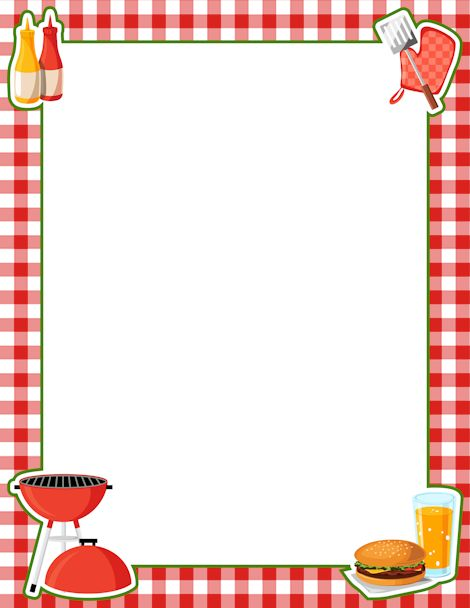 Printable BBQ border. Free GIF, JPG, PDF, and PNG downloads at http://pageborders.org/download/bbq-border/