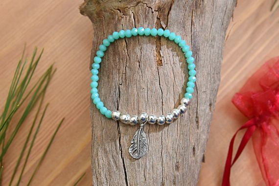 6mm Turquoise & Silver Beads Leaf Charm Bracelet Colorful