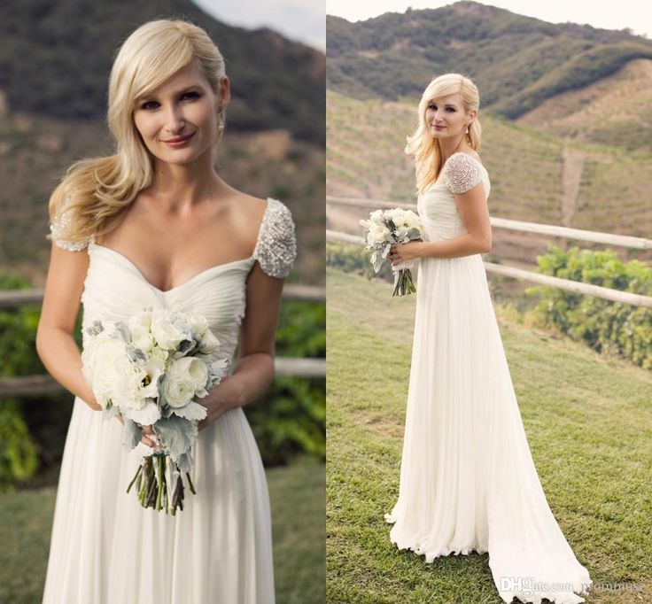 Wholesale wedding dresses for cheap, wedding dresses under 1000 and wedding dresses with color on DHgate.com are fashion and cheap. The well-made  2015 cap sleeve beaded chiffon wedding dresses elegant a line sweetheart with ruffles zipper back sweep train summer country wedding dresses sold by prommuse is waiting for your attention.