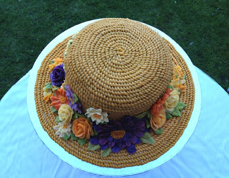 Arty Cakes original Floral straw buttercream hat cake