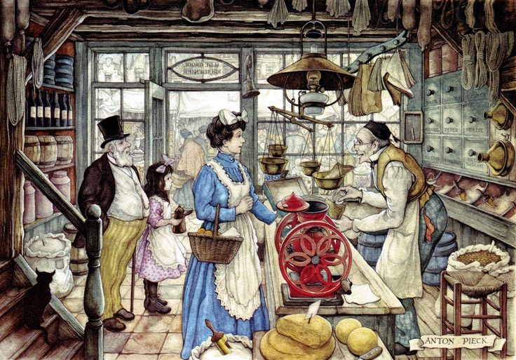 In the Store - Anton Pieck, Dutch painter, artist and graphic artist.