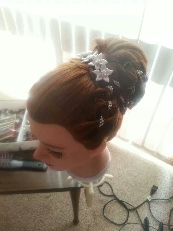 Front view of braided chignon