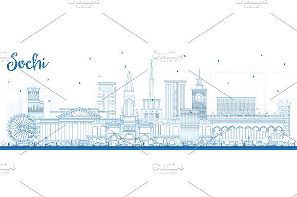 #Outline #Sochi #Russia #City #Skyline by Igor Sorokin on @creativemarket