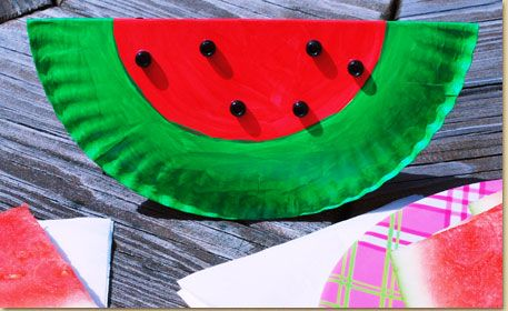 Crafts-Kids | Watermelon Paper Plate Art.  This is a good one - very easy !