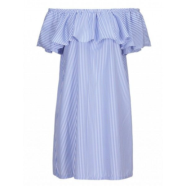 Choies Blue Off Shoulder Stripe Print Ruffle Overlay Dress (€18) ❤ liked on Polyvore featuring dresses, blue, blue striped dress, frilly dresses, off the shoulder dress, blue day dress and overlay dress
