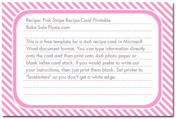 4X6 Recipe Card Template | Free 4x6 Recipe Card Template