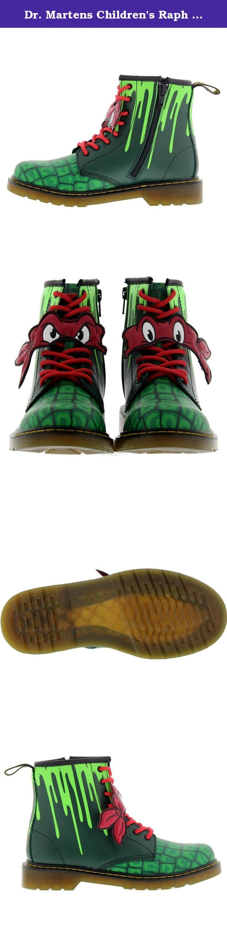 Dr. Martens Children's Raph 8 Eye Boot,Green T Lamper,UK 2 M. The Raph 8 Eye Boot Raphael is drawn from the original Teenage Mutant Ninja Turtles artwork. It features glow-in-the-dark ooze at the top of the quarter, and over-sized, textured turtle shell patterning to the toe. The character's initial is on the right heel and the TMNT logo on the left heel Reflective top binding and color-coded laces that match the character's color scheme An original Dr. Martens air-cushioned sole, hard...