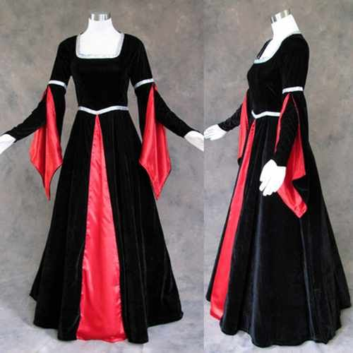 Black Velvet with Red Satin Renaissance Vampire Gown : Artemisia Designs:, Historical and Fantasy Apparel for the Regular and Plus Size - Renaissance, Medieval, Victorian, Cloaks, and LARP
