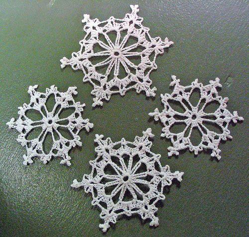 4 Crochet Snowflakes