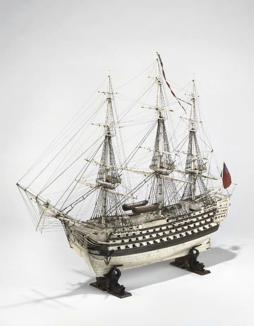 Model of HMS Prince of Wales, created by a French prisoner of war in about 1800. This was the ship launched at Portsmouth during the celebrations to commemorate the Glorious First of June. Christie's