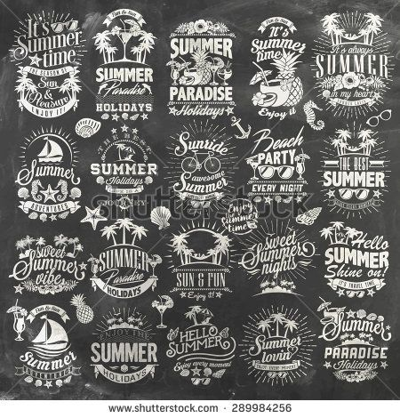 Hand drawn Summer calligraphic designs on chalkboard   Vintage ornaments   All for Summer holidays   tropical paradise, sea, sunshine, weekend tour, beach vacation, adventure labels   vector set - stock vector
