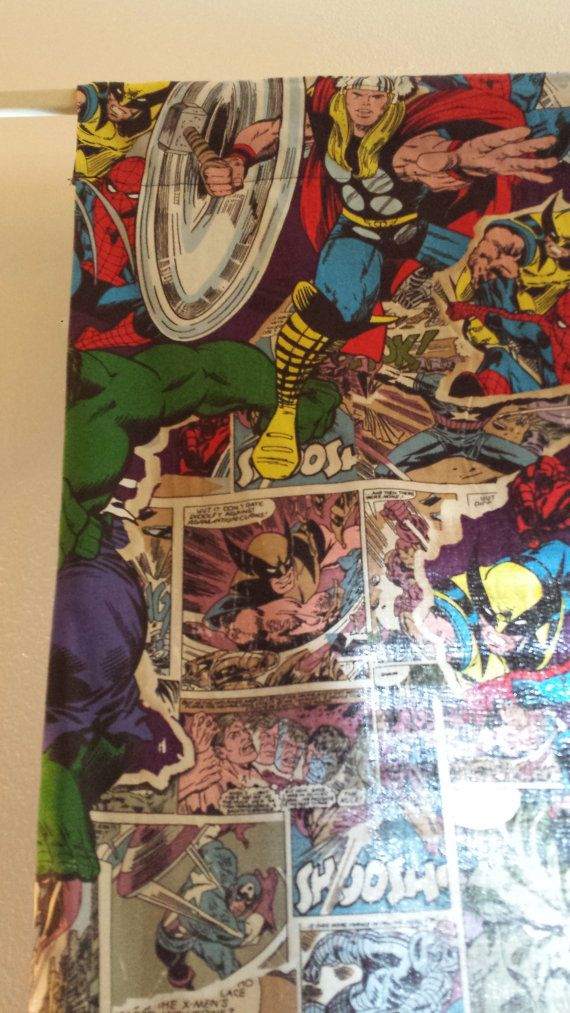 Comic Book Curtain for Kids Room or Bachelor Pad by MindyCreates