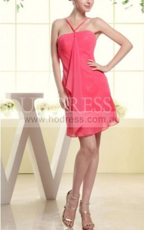 Sheath V-neck Knee-length Chiffon Natural Party Dresses gt3459--Hodress