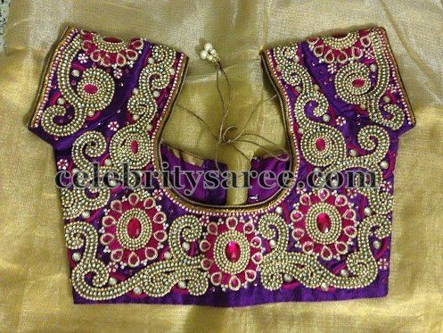 women blouse neck designs embellished with heavy stone work flower for wedding wear.....! #happywedding #bridaldesign #bridalwork  #covaiweddingshoppers