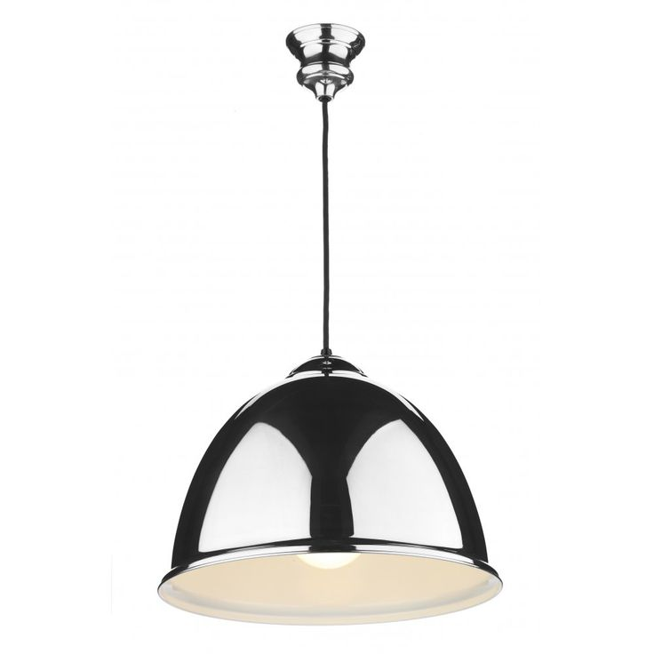 David Hunt Lighting EUS0122 Euston Polished Chrome Pendant Light with Black Cable and White Gloss inner