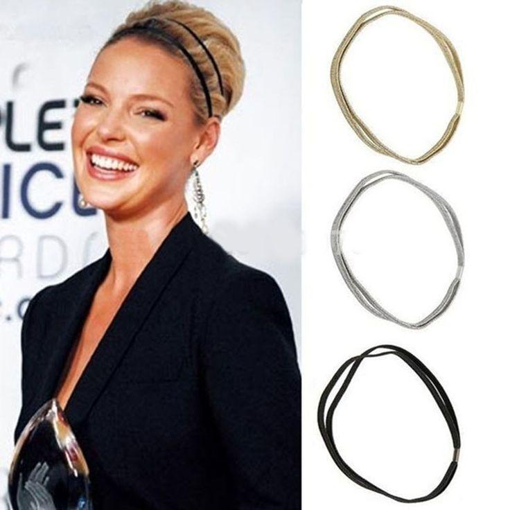 3 Pcs Mode Femmes Glitter Élastique Bandeau De Haute Qualité Bling Bandeau Bandeau Filles Double Cercle De Cheveux Accessoires Cheveux
