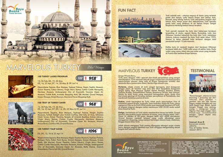 Marvelous Turkey. Experience an amazing trip to exotic country with many attractive tourism objects. Eyewitness, the beauty of Middle East culture. Call us now on +62 21 2350 9999 or email us for itinerary at cs@bayubuanatravel.com or cs2@bayubuanatravel.com