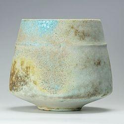 Lemon/turquoise ribbed bowl by Jack Doherty