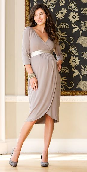 Tulip Maternity Dress (Pale Grey) by Tiffany Rose  $185