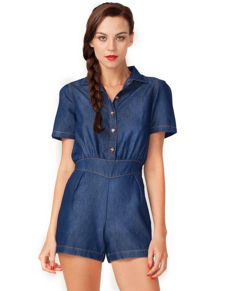 Motel Dakota Collar Playsuit in Indigo Blue Denim, Top Shop, ASOS, House of Fraser, Nastygal