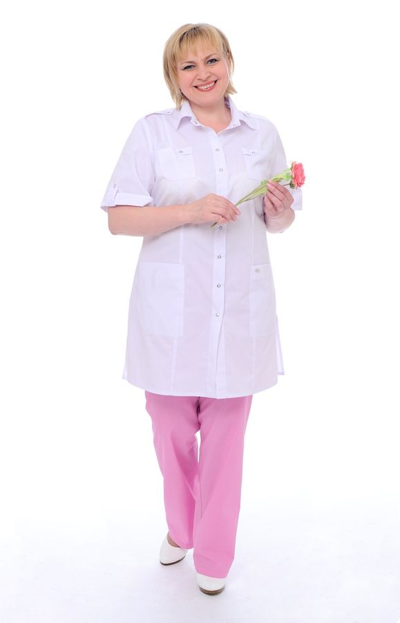"Блуза медицинская женская ""Сафари"" белая"