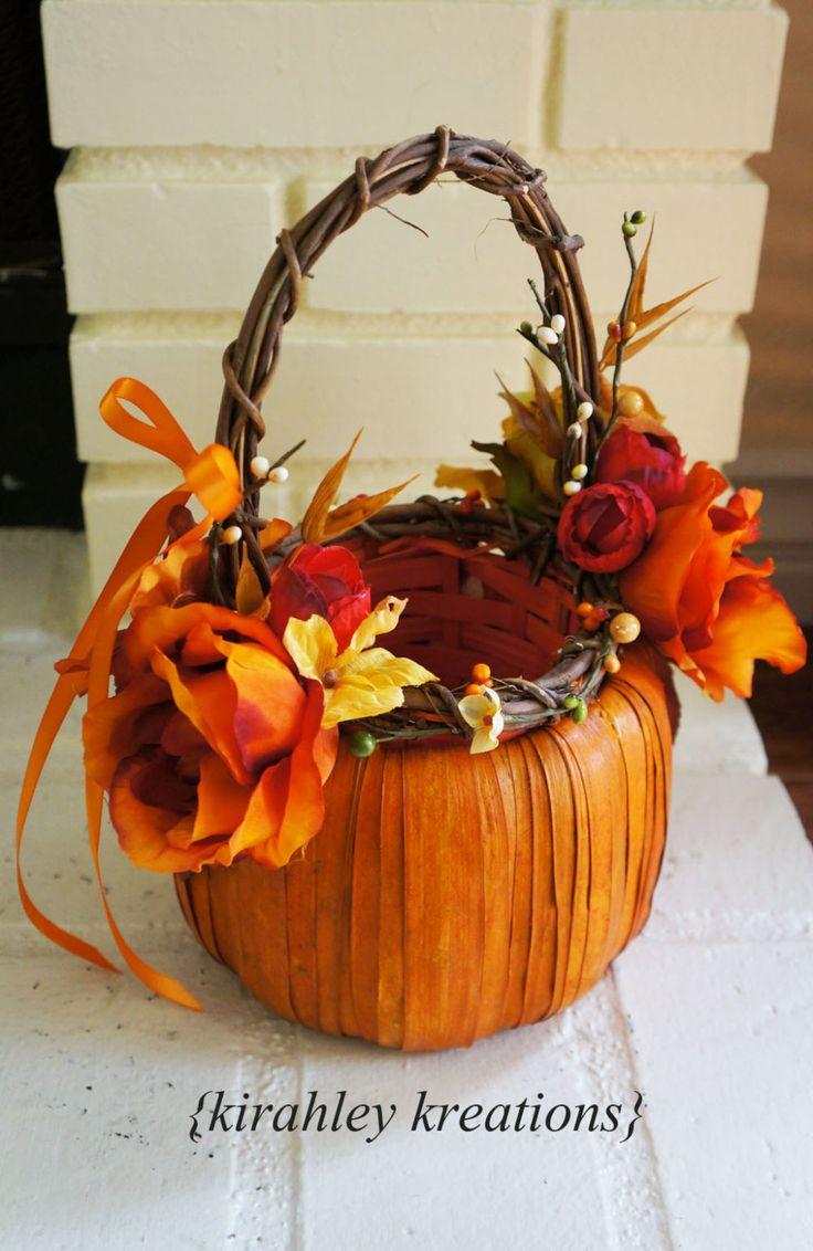 FALL PUMPKIN Rustic Harvest Flower Girl by KirahleyKreations, $36.00