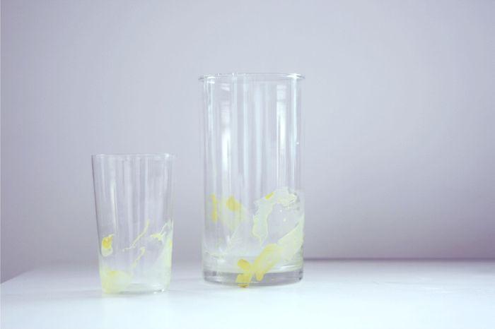 Nagellacksmarmorerade glas. Isabelle för Monthly Makers februari, tema återbruk.