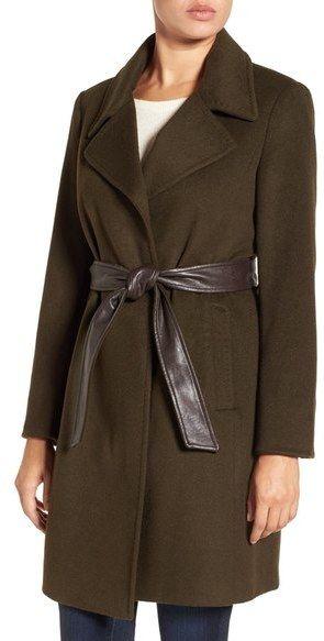 Ellen Tracy Belted Wool Blend Wrap Coat