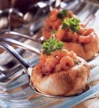 Champignons gevuld met garnalen (amuse)