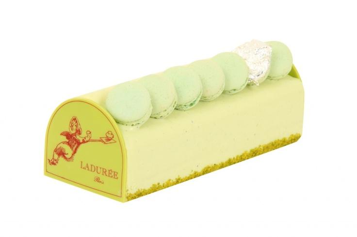 laduree buche de noel with macaron topping and accent macaron