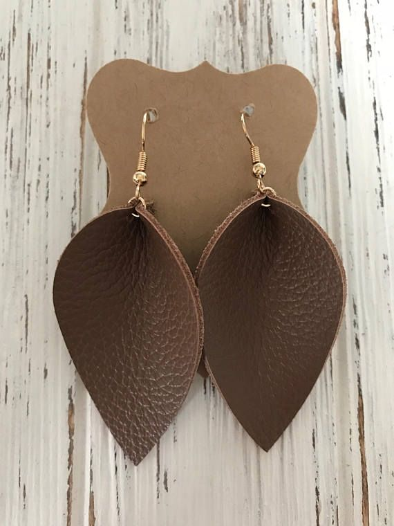 Beautiful Brown Leather Petal Earrings, Joanna Gaines Inspired, Genuine leather, lightweight leather earrings