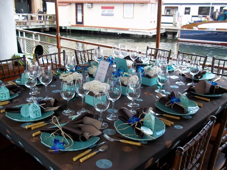 2010 Lake Geneva Cruise Line Bridal Expo. Brown and turquoise table setting.