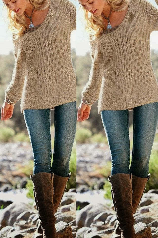 Fall work with comfy sweater and stunning leather long boots