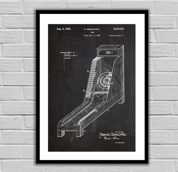 Skee Ball Patent, Skee Ball Arcade Game Poster, Skee Ball Blueprint,  Skee Ball Print, Skee Ball Art, Skee Ball Decor by STANLEYprintHOUSE  3.00 USD  We use only top quality archival inks and heavyweight matte fine art papers and high end printers to produce a stunning quality print that's made to last.  Any of these posters will make a great affordable gift, or tie any room together.  Please choose between different sizes and col ..  https://www.etsy.com/ca/listing/263641601/skee-..