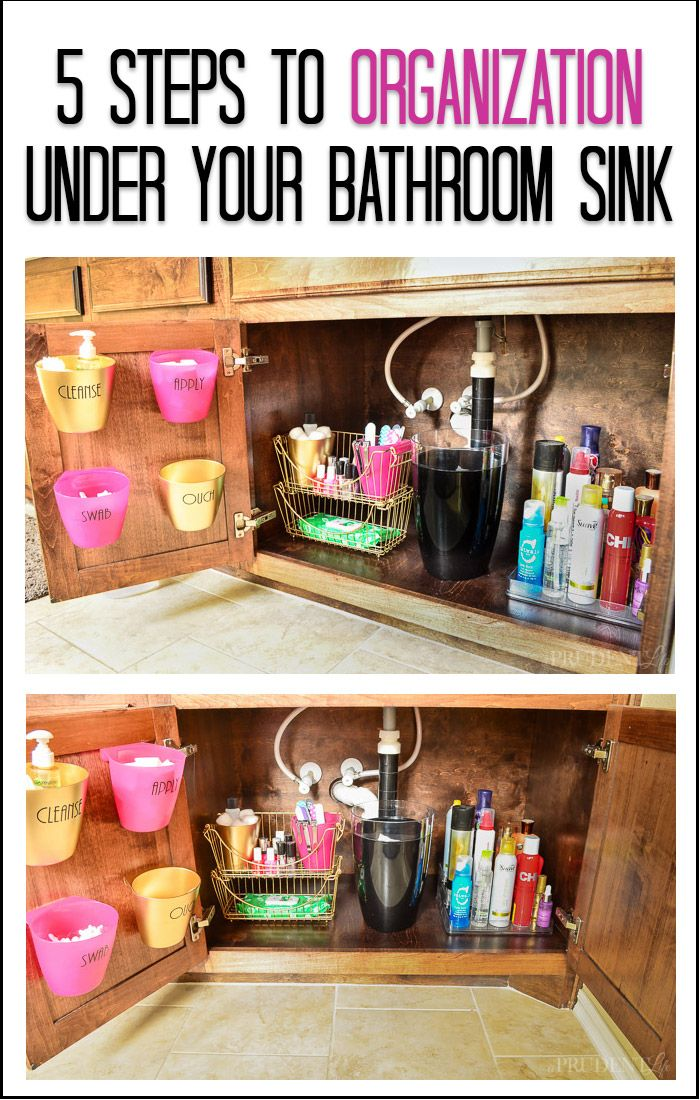 Have a mess under the bathroom sink? Get it organized with these quick tips. Source for tiered organizer included!