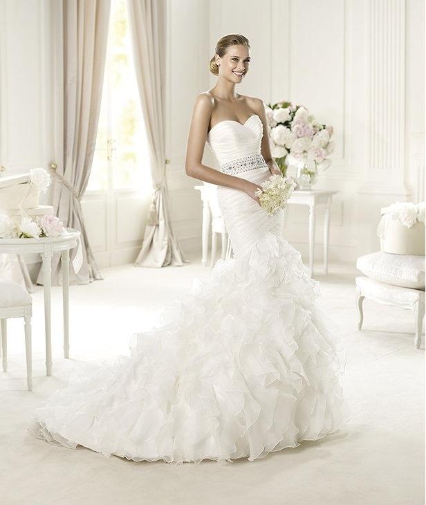 Mermaid strapless brush ruffles wedding dress
