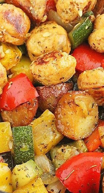 Summer vegetable bake with sausage... Replace meat sausage with tofurkey sausage