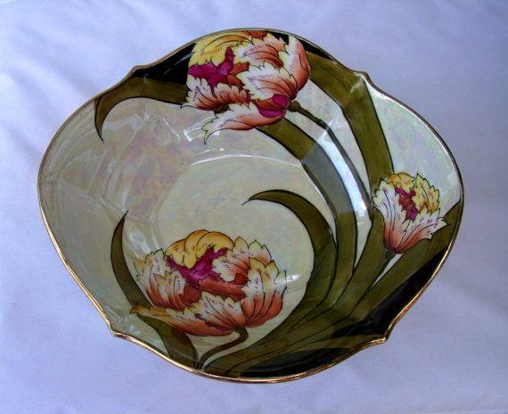1920s Toki Kasha Noritake Lusterware Oval Bowl with Peony Gorgeous Handpainted Vintage Bowl. Vintage FriendsDecorative PlatesNoritakeVintage ... & 322 best Decorative Plates And Bowls images on Pinterest ...