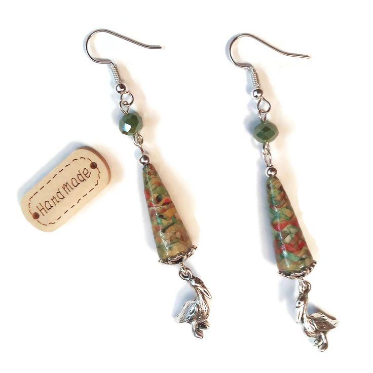 Boucles d'oreilles Pélicans - Oiseaux - Mer - Été - Perles Artisanales - Perles en Papier - Perles en Verre - Vertes Argentées : Boucles d'oreille par cap-and-pap