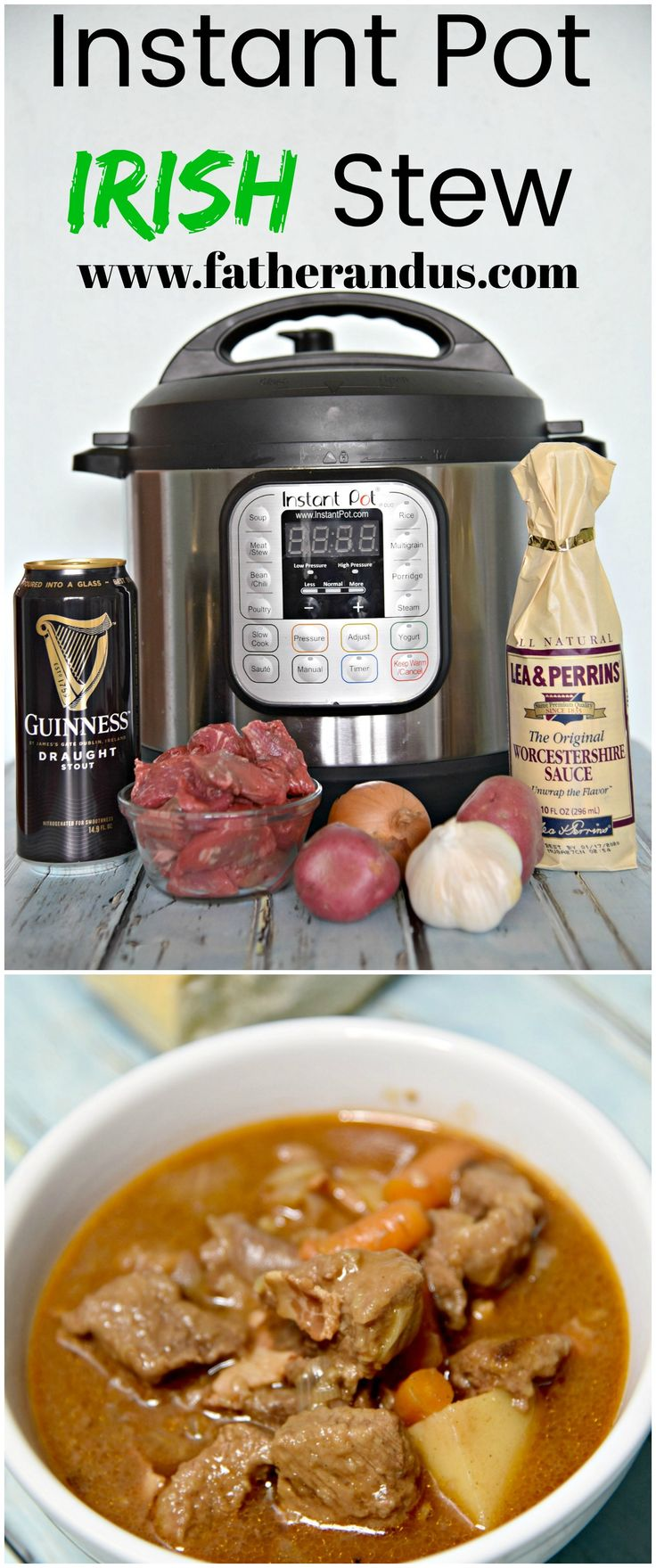 Get ready for this traditional Irish Stew made with Guinness.  This is a quick and easy recipe to make in your Instant Pot.  Perfect for a family dinner or a St. Patrick's Day Party.  The meat comes out super tender and it tastes even better for leftovers the next day! #InstantPot #Instantpotrecipes #Irishstew
